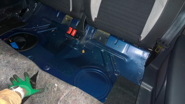 Scirocco floor under the rear seat.