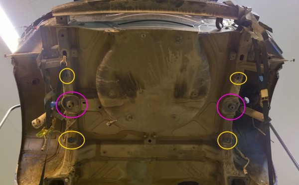 On the underside everything is same as in Golf except the spare wheel area. Rear axle bolts into the same locations (yellow circles). Springs attach to the areas marked with purple.