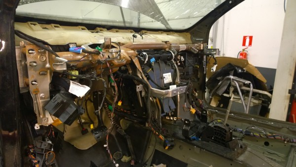 Dash out, removing the dash support bar and blower box together with wiring harness.