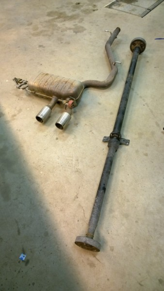 Drive shaft from front to back and Golf exhaust.