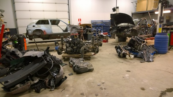 Pekka's garage full of Heikki's car's and parts. He wasn't too happy about it...
